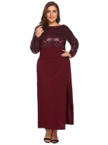 Wine red Women's Long Sleeve Backless Sequined Split Evening Party Maxi Dress Plus Size