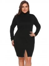 Black Women's Turtleneck Long Sleeve Solid Split Bodycon Casual Dress Plus Size