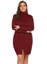 Rojo de vino Mujeres túnica cuello alto manga larga sólida Split Bodycon Casual Dress Plus Size