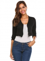 Black Women's V-Neck Long Sleeve Button Down Slim Fit Cropped Knit Cardigan