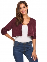 Dark red Women's V-Neck Long Sleeve Button Down Slim Fit Cropped Knit Cardigan