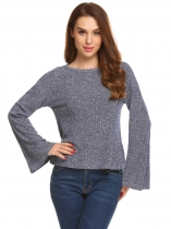 Dark blue Women Casual O-Neck Long Flare Sleeve Solid Knitted Blouse T-shirt Tops