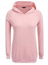 Pink Women Autumn Plus Size Long Sleeve Solid Pullover Kangaroo Proket Hoodie
