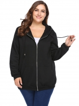 Black Solid Long Sleeve Fleece Zipper Hoodies