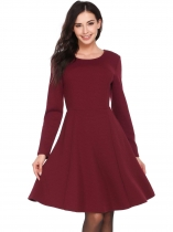 Wine red Vintage Style Weave Patchwork Dress
