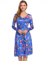 Pattern 3 Women Fashion V-Neck Long Sleeve Solid Floral Slim Waist A-Line Dress with Belt