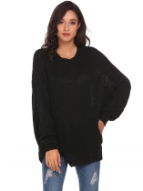 Black Round Neck Irregular Puff Sleeve Knitted Loose Pullover Sweater