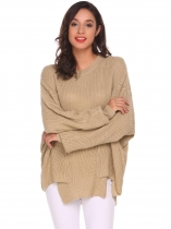 Light khaki Round Neck Irregular Puff Sleeve Knitted Loose Pullover Sweater