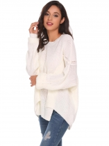 White Round Neck Irregular Puff Sleeve Knitted Loose Pullover Sweater