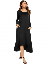 Black Women O-Neck Long Sleeve Asymmetrical Hem Solid Casual Loose Maxi Casual Dress