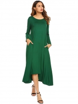 Dark green Women O-Neck Long Sleeve Asymmetrical Hem Solid Casual Loose Maxi Casual Dress