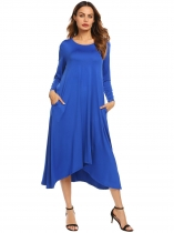 Royal Blue Women O-Neck Long Sleeve Asymmetrical Hem Solid Casual Loose Maxi Casual Dress