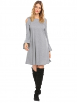 Grey Women O Neck Cold Shoulder Flare Long Sleeve Ruched Cuff Loose Hem Dress