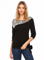 Black Long Sleeve Lace Patchwork Front Tie T-Shirt