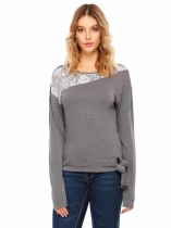 Grey Long Sleeve Lace Patchwork Front Tie T-Shirt