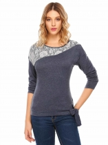 Navy blue Long Sleeve Lace Patchwork Front Tie T-Shirt