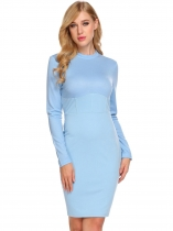 Blue Women Casual Stand Neck Long Sleeve High Waist Patchwork Bodycon Pencil Dress