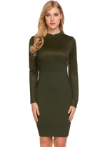 Army green Women Casual Stand Neck Long Sleeve High Waist Patchwork Bodycon Pencil Dress