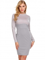 Grey Women Casual Stand Neck Long Sleeve High Waist Patchwork Bodycon Pencil Dress