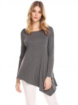 Gray Women Round Neck Long Sleeve Solid Irregular Casual Loose Fit Tunic Top