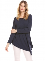 Navy blue Women Round Neck Long Sleeve Solid Irregular Casual Loose Fit Tunic Top