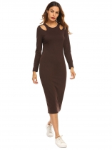 Coffee Women O-Neck Long Sleeve Cut Out Solid Slim Fit Bodycon Midi Dress