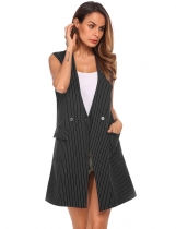 Black Women Sleeveless Waistcoat Striped Jacquard Slit Hem Long Suit Vest with Pockets