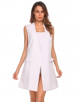 White Women Sleeveless Waistcoat Striped Jacquard Slit Hem Long Suit Vest with Pockets