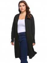 Black Solid Long Sleeve Open Front Knit Coats