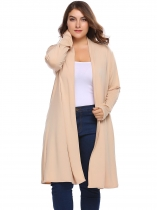 Beige Solid Long Sleeve Open Front Knit Coats