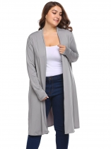 Gray Solid Long Sleeve Open Front Knit Coats