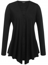 Black Plus Size Long Sleeve Open Front Solid Cardigan