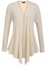 Beige Plus Size Long Sleeve Open Front Solid Cardigan