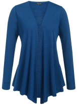 Navy blue Plus Size Long Sleeve Open Front Solid Cardigan