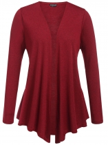 Wine red Plus Size Long Sleeve Open Front Solid Cardigan