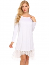 White Long Sleeve Split Lace Trim High Low Hem Casual Loose Dress