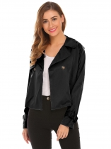 Black Women Casual Turn Down Collar Long Sleeve Button Jacket