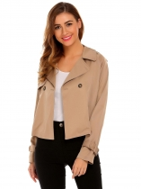 Khaki Women Casual Turn Down Collar Long Sleeve Button Jacket