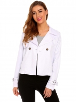 White Women Casual Turn Down Collar Long Sleeve Button Jacket