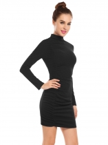 Noir Femmes Casual Stand Col à manches longues volants solide paquet Hip Bodycon Slim Dress