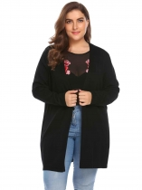 Black Women's Long Sleeve Open Front Solid Thin Knit Sweater Cardigan Plus Size