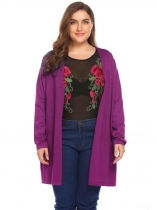 Purple Women's Long Sleeve Open Front Solid Thin Knit Sweater Cardigan Plus Size