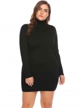 Black Women's Turtleneck Long Sleeve Solid Bodycon Pullover Sweater Dress Plus Size