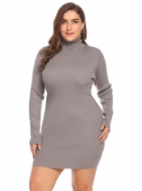 Khaki Women's Turtleneck Long Sleeve Solid Bodycon Pullover Sweater Dress Plus Size