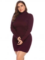 Wine red Women's Turtleneck Long Sleeve Solid Bodycon Pullover Sweater Dress Plus Size