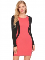 Watermelon red O-Neck Long Sleeve Patchwork Casual Slim Fit Dress