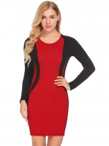 Red O-Neck Long Sleeve Patchwork Casual Slim Fit Dress