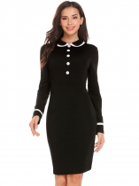 Black Women Peter Pan Collar Long Sleeve Patchwork Slim Fit Office Career Dress