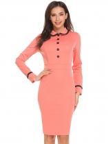 Dark pink Women Peter Pan Collar Long Sleeve Patchwork Slim Fit Office Career Dress