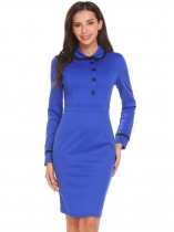 Royal Blue Women Peter Pan Collar Long Sleeve Patchwork Slim Fit Office Career Dress